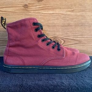 Dr Martens Maroon Canvas Shoreditch Boots
